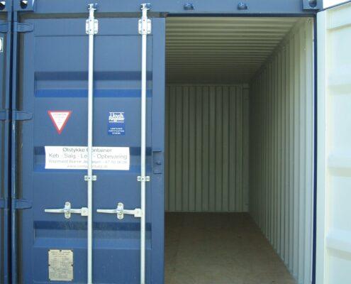 Her er vores blå 20 container som du har mulighed for at leje eller købe.